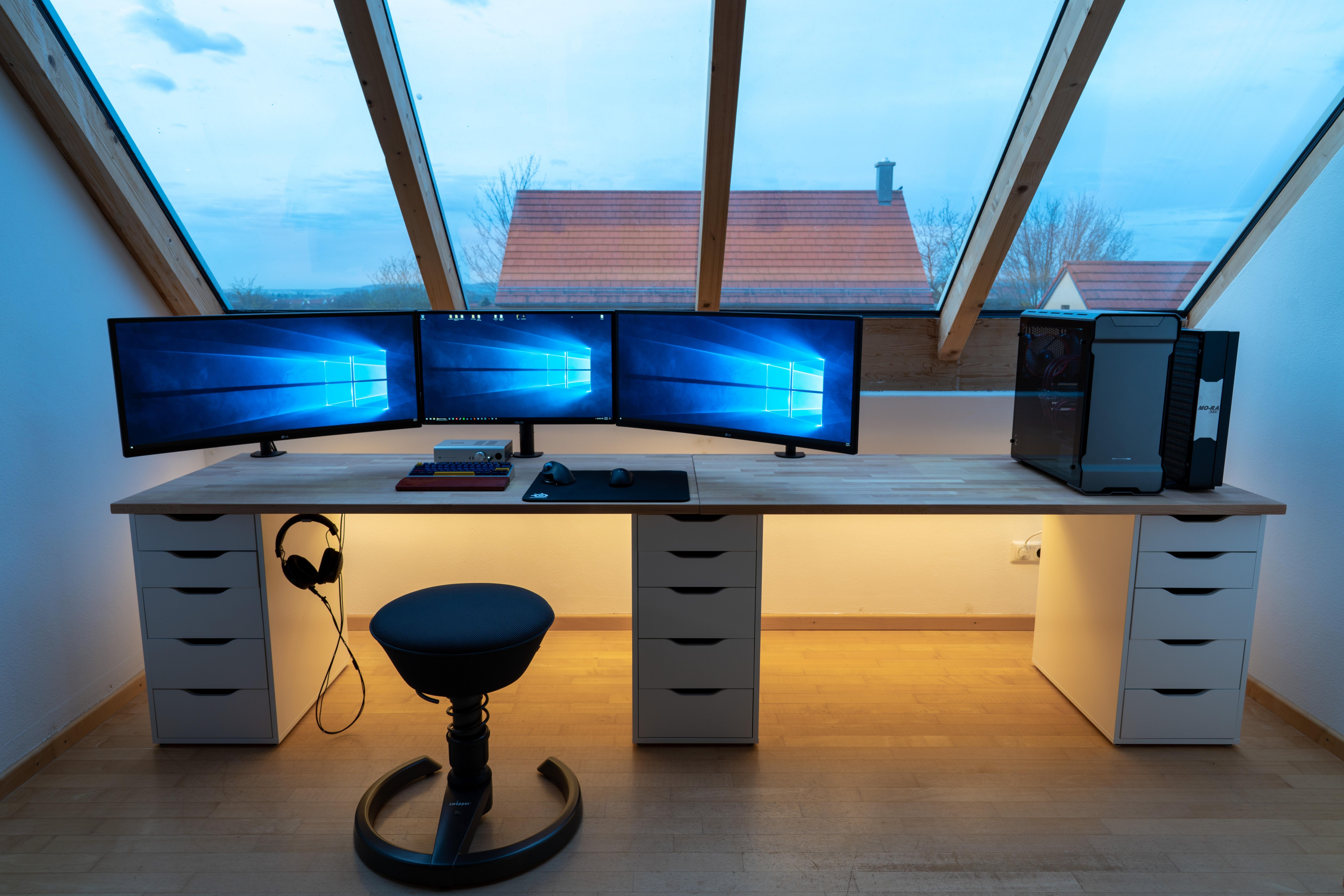 Https Ift Tt 2jdiowk My New Wide Setup L Shaped Desk Gaming Setup Gaming Desk Setup Simple Computer Desk