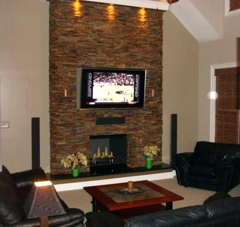 Stone Fireplace With Tv Stone Wall With Fireplace And Wall