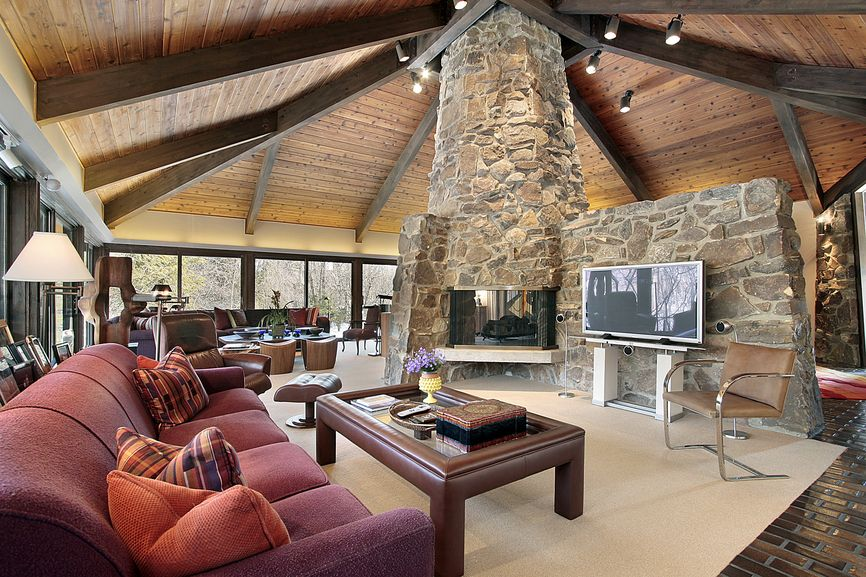 100 39 s of formal living room design ideas photos casual for House plans with fireplace in center of house