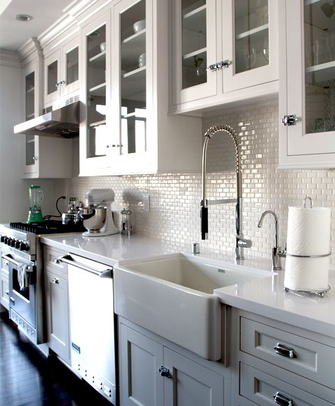 New White Kitchen Cabinets with Glass Doors
