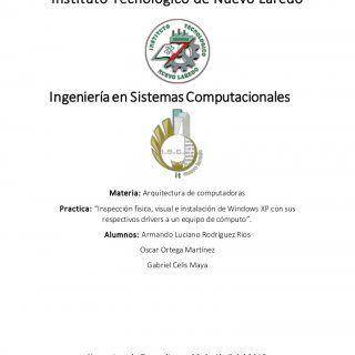 """Instituto Tecnológico de Nuevo Laredo Ingenieríaen SistemasComputacionales Materia: Arquitectura de computadoras Practica: """"Inspección física, visual e inst. http://slidehot.com/resources/inspeccion-fisica-visual-e-instalacion-de-drivers-de-una-pc-arquitectura-de-computadoras.33187/"""