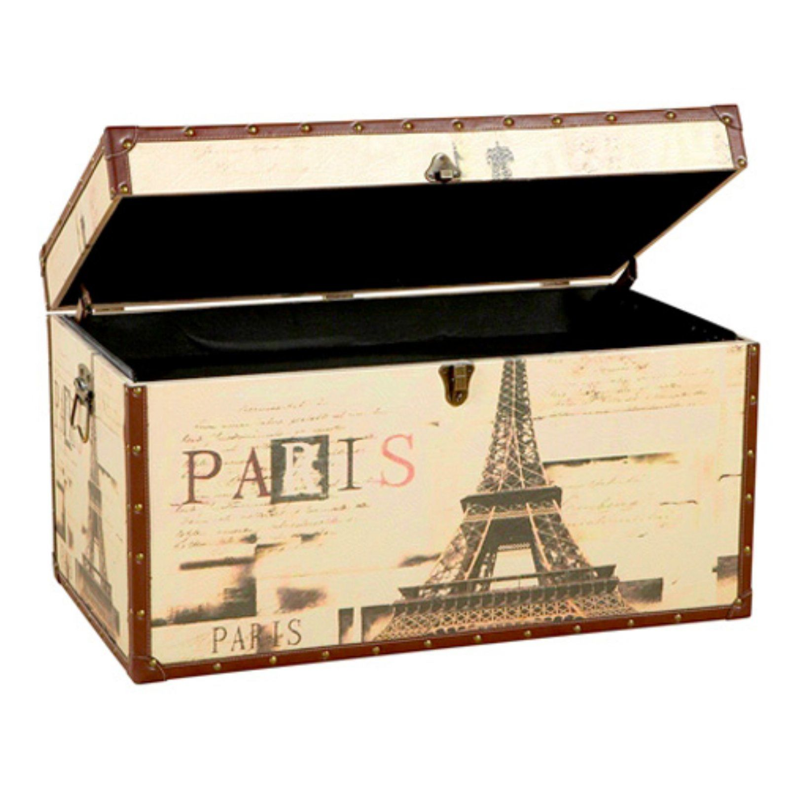 paris eiffel tower trunk using to store baby blankets right now