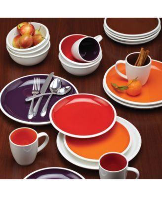 Rachael Ray Rise Orange Set Of 4 Salad Plates Serving Bowls