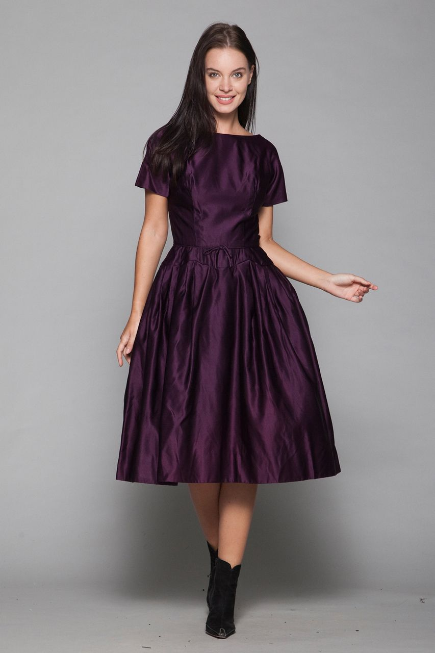 50s cocktail dress eggplant purple satin new look fit and