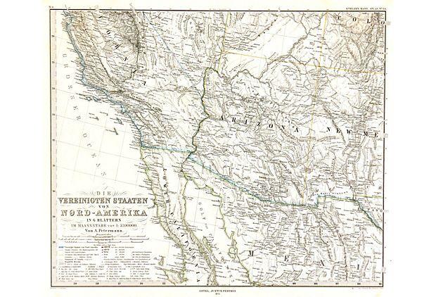 Southwestern States 1873 on eKingsLane Engraving of the