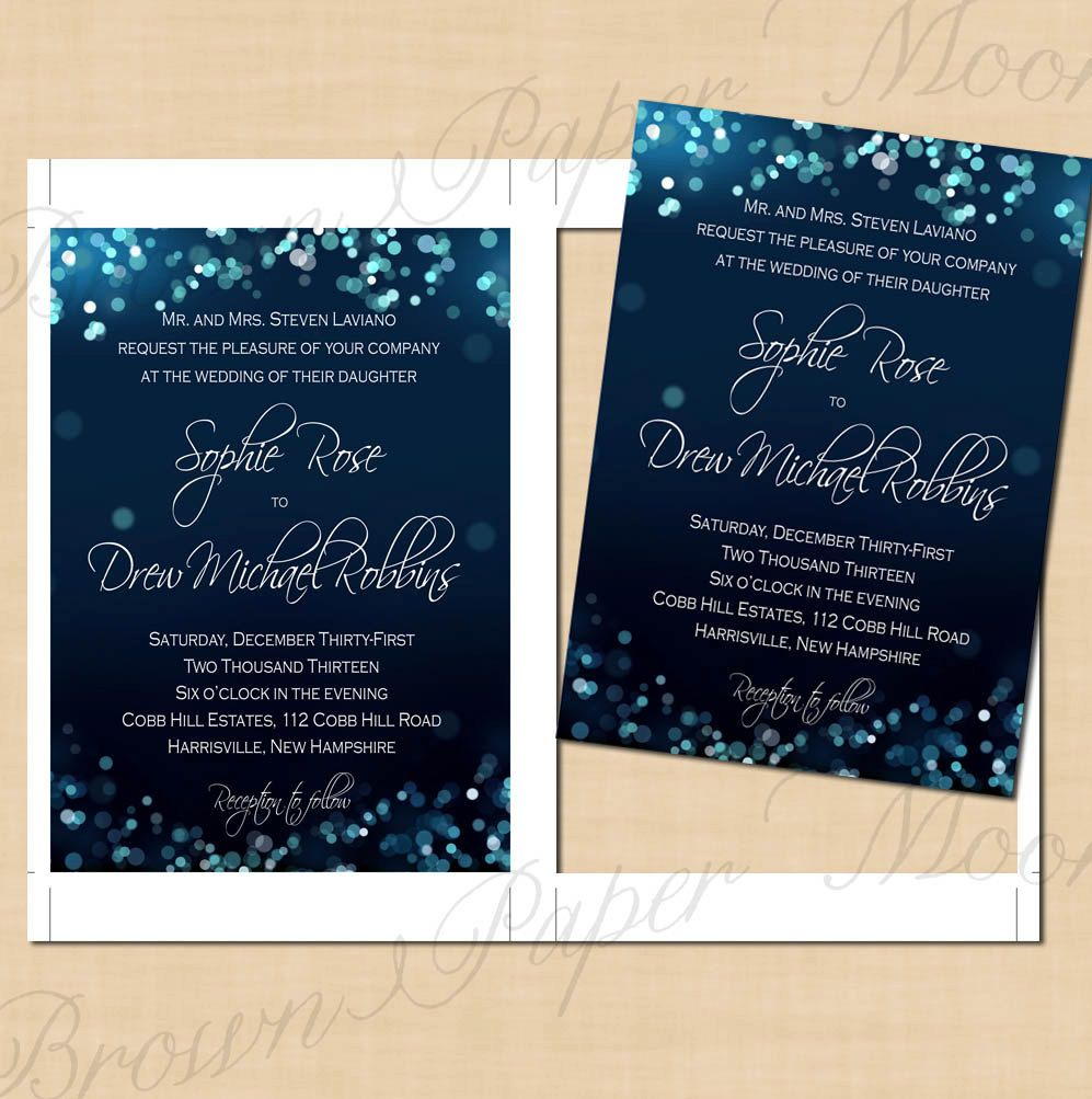Night Sky Printable Wedding Invitations 5 X 7 Instant Download