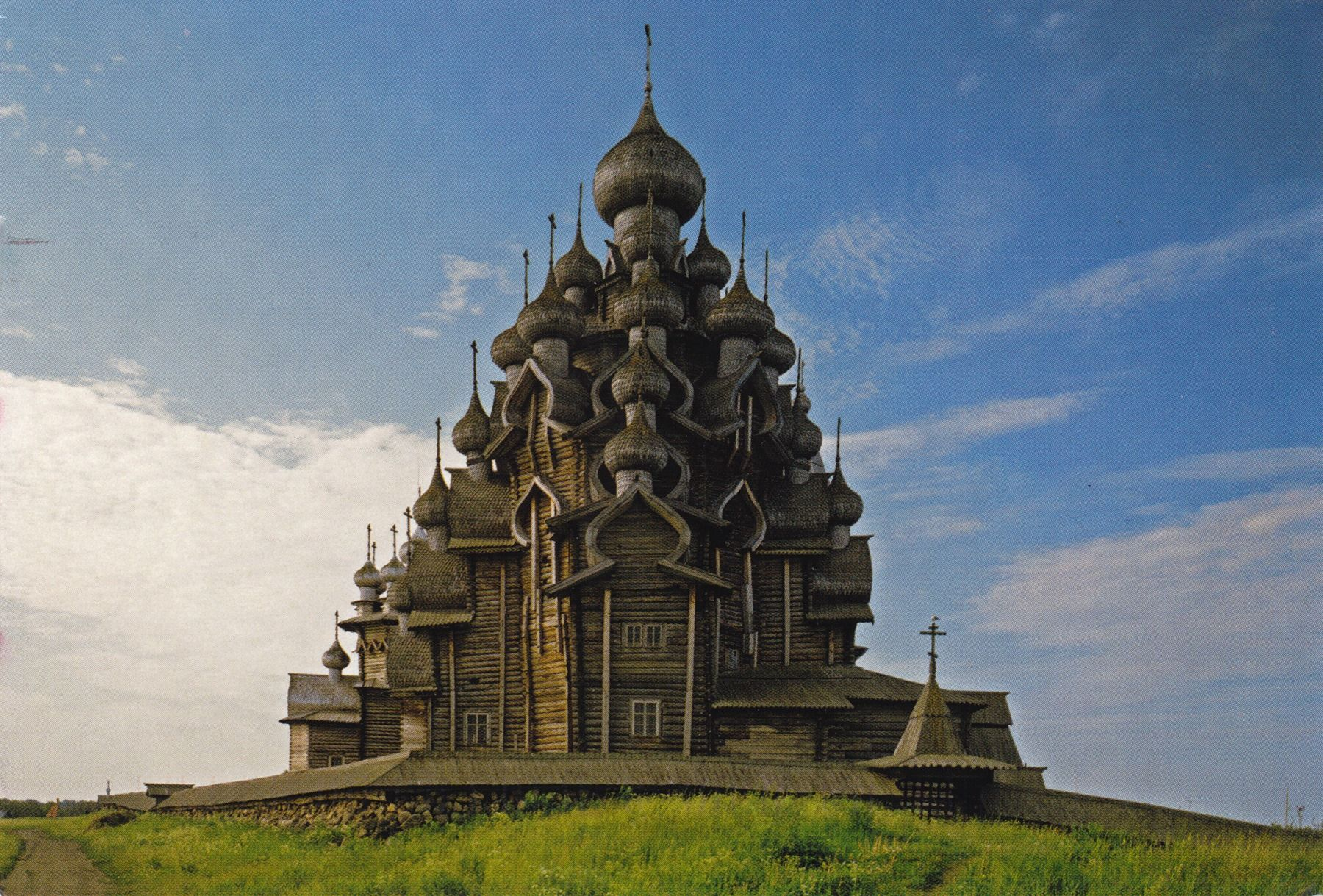 At Kizhi Island. Wooden churches on Kizhi island . Kizhi a small island located in the northern part of Lake Onega, in 68 kilometers from Petrozavodsk, Russia