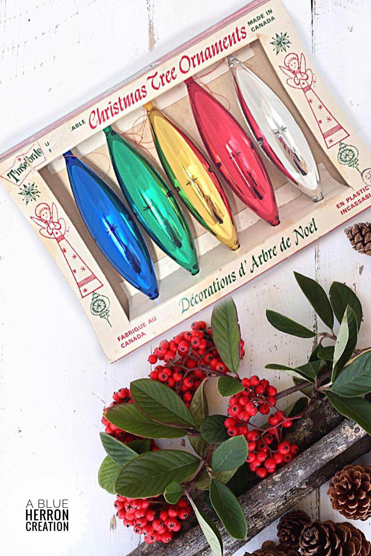 Vintage TINSELBRITE Christmas Tree Ornaments Unbreakable