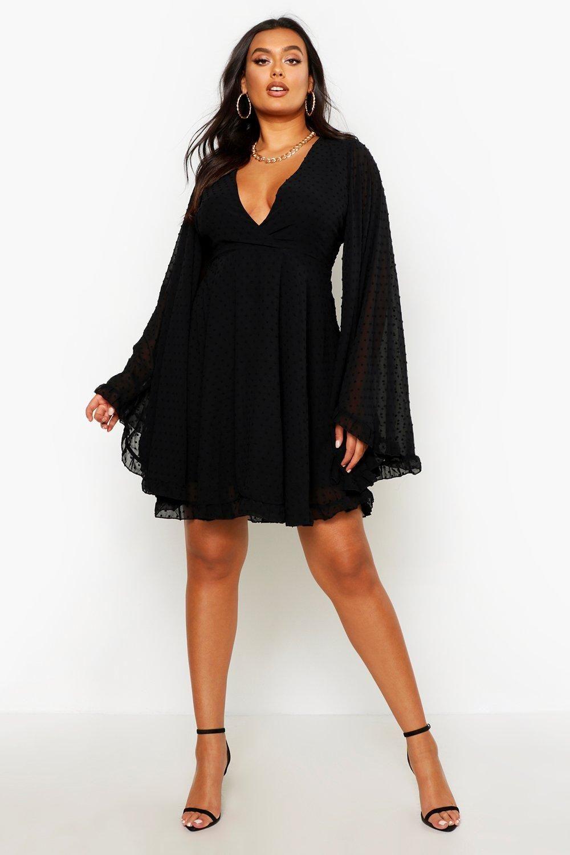 Plus Dobby Chiffon Wide Sleeve Skater Dress Boohoo Plus Size Black Dresses Plus Size Cocktail Dresses Graduation Dress Plus Size [ 1500 x 1000 Pixel ]