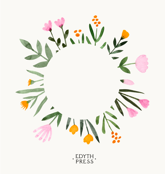 Photo of Watercolor Floral Botanical Frame Clipart Square Border