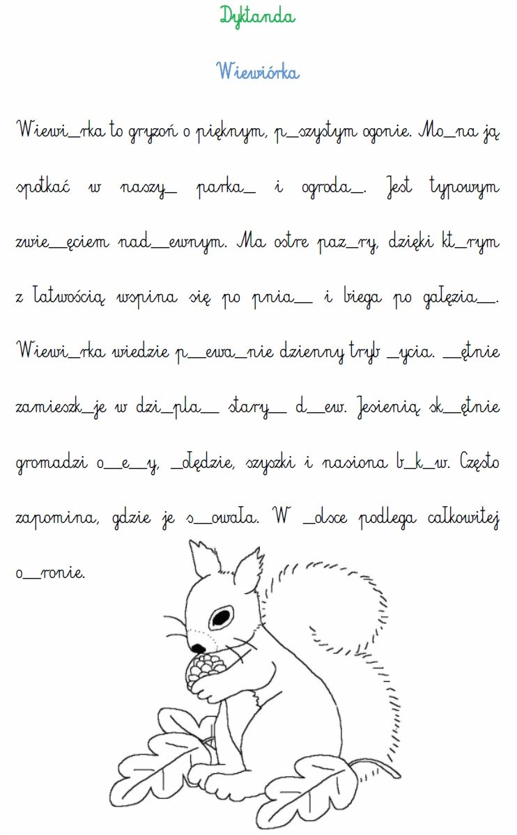 Dyktanda Sprawdz Swoja Wiedze Ortograficzna Wydrukuj Uzupelnij Luki W Wyrazach I Pokoloruj Obrazek Powodzenia Polish Language Education Kids Learning