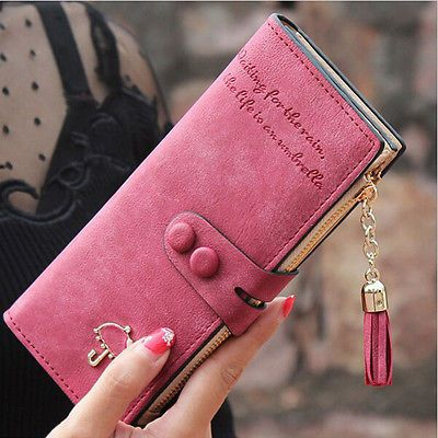 ce9ce4bf669 Women Lady Leather Card Holder Long Wallet Clutch Checkbook Tassel Handbag  Purse  shoes