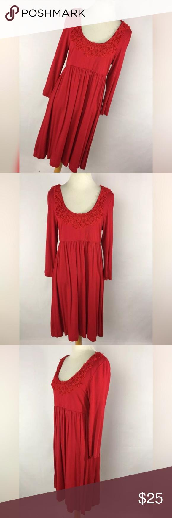 Soma m medium dress red empire waist sleeve my posh picks