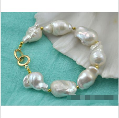 "Free shipping 8"" 25mm white baroque reborn keshi pearl bracelet@^Noble style Natural Fine jewe   #Affiliate"