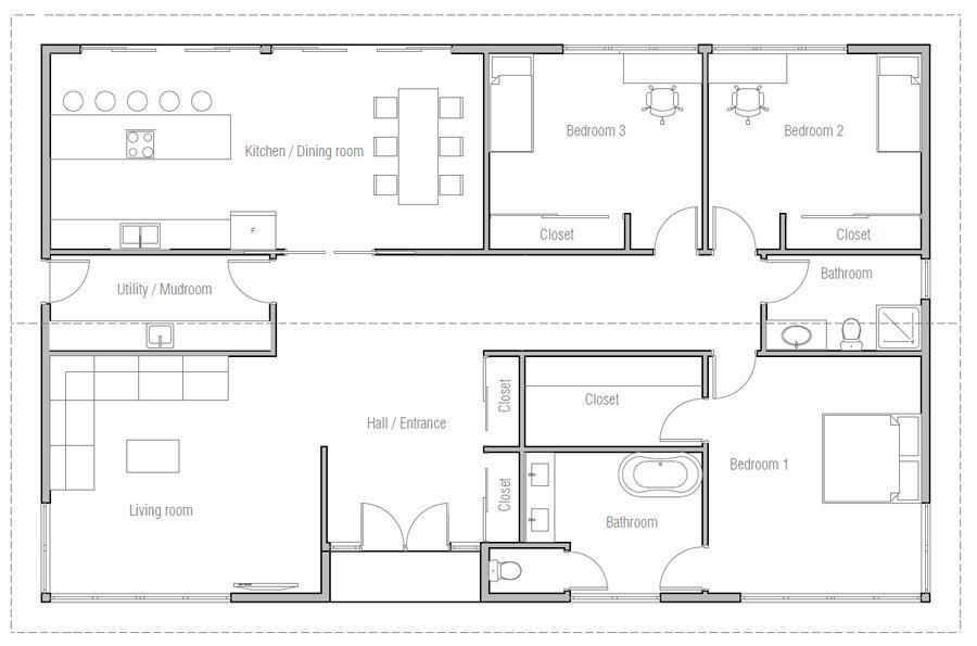 House Design House Plan Ch476 10 Three Bedroom House Plan Bedroom House Plans 2 Bedroom House Plans