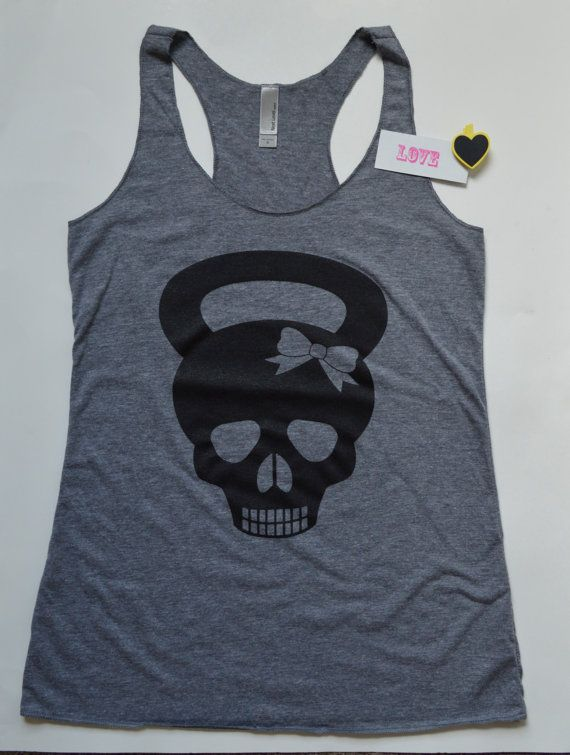 13c3426b278f9 Tank Top. Skull Kettle Bell with Bow Racerback Tank Top. Lifting. Fitness