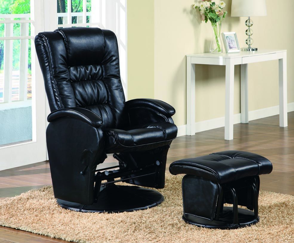 Awesome Black Leather Like Vinyl Glider With Ottoman Massage Andrewgaddart Wooden Chair Designs For Living Room Andrewgaddartcom