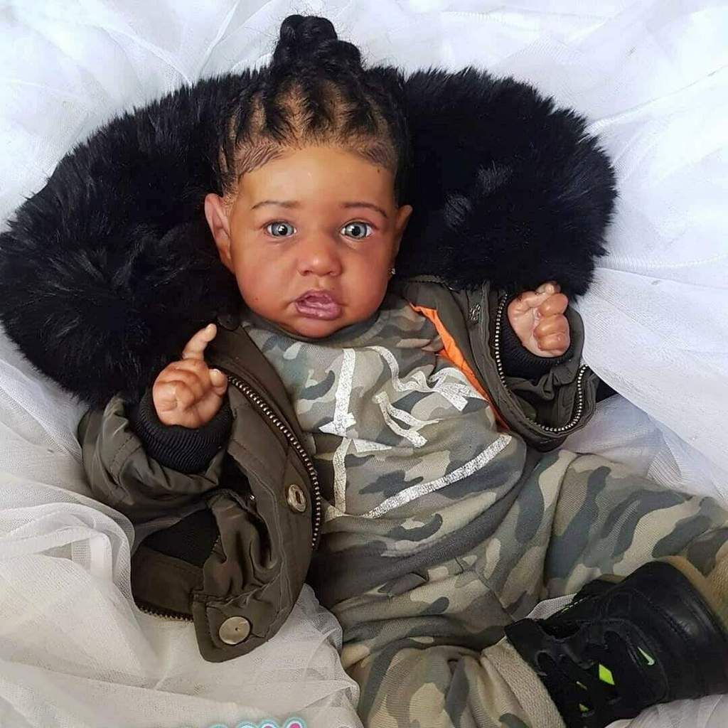 "22/"" Newborn Doll African American Baby Girl Silicone Full Body Reborn Baby Dolls"