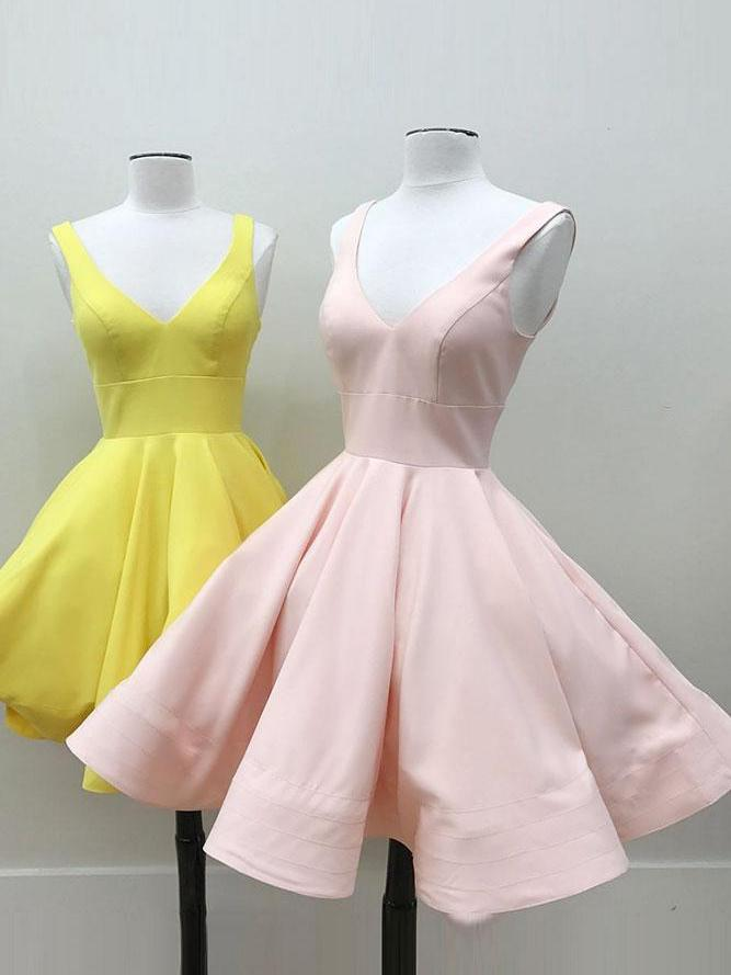 10bc52ae87 Chic A-line V-neck Pink Yellow Simple Short Prom Dress Homecoming Dress  AM175