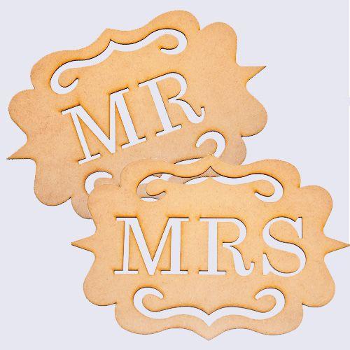 Mr & Mrs Lasercut Wood Signs - That Little Shop