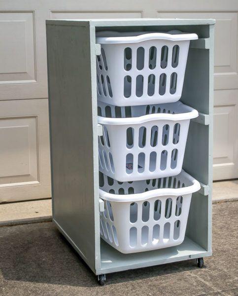 Elegant Laundry Basket Storage Cabinet