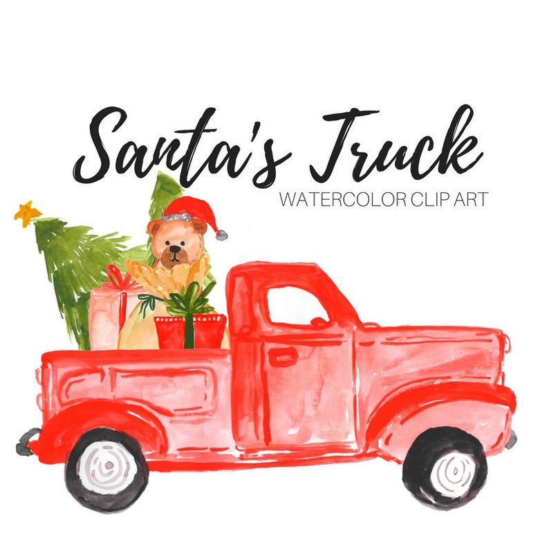 Christmas Car Commercials 2020 Christmas clipart pickup truck watercolor graphics holiday | Etsy