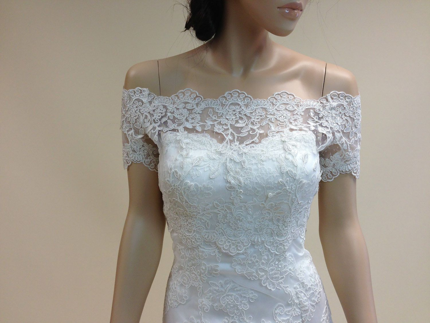 White Ivory Wedding Jacket Off shoulder Half Sleeve Sheer Bridal ...