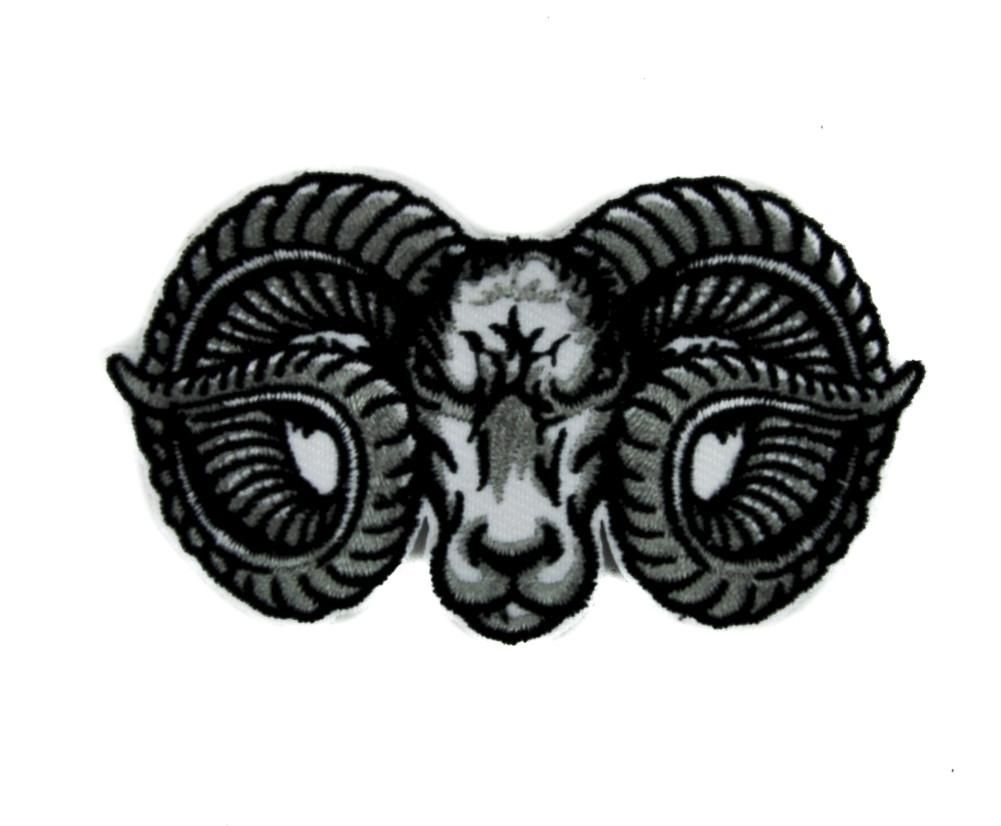 Evil Ram Horns Goat Head Patch Iron on Applique Alternative Metal
