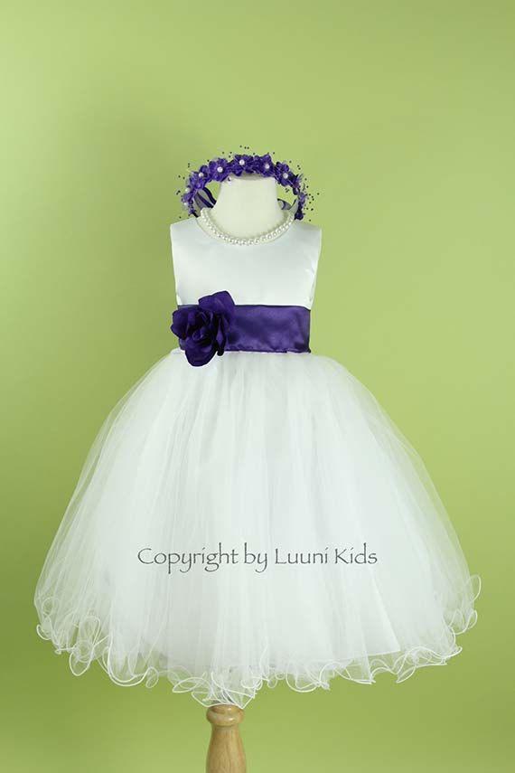 Flower Girl Dress White Wavy Bottom Dress With Purple Eggplant