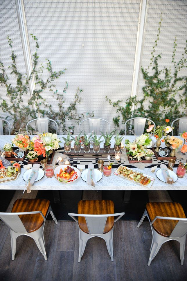 Modern Mexican Rehearsal Dinner Puesto At The Headquarters Wedding Fl Arrangements Table