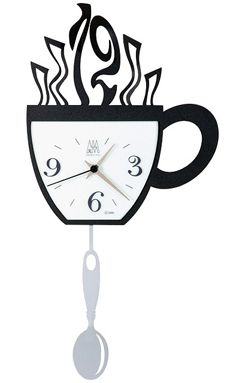 Coffee Cup With Spoon Pendulum Wall Clock Ticking Away