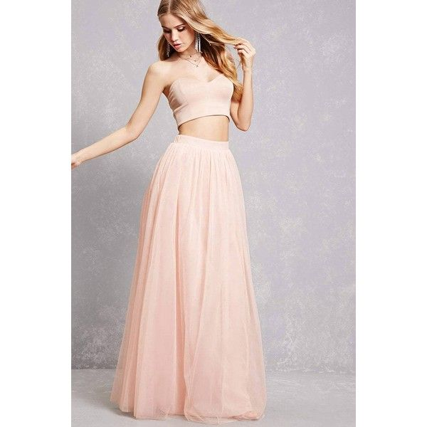 cd36903ddefe Forever21 Tulle Maxi Skirt ($38) ❤ liked on Polyvore featuring skirts,  blush, floor length tulle skirt, pink skirt, pink maxi skirt, layered maxi  skirt and ...