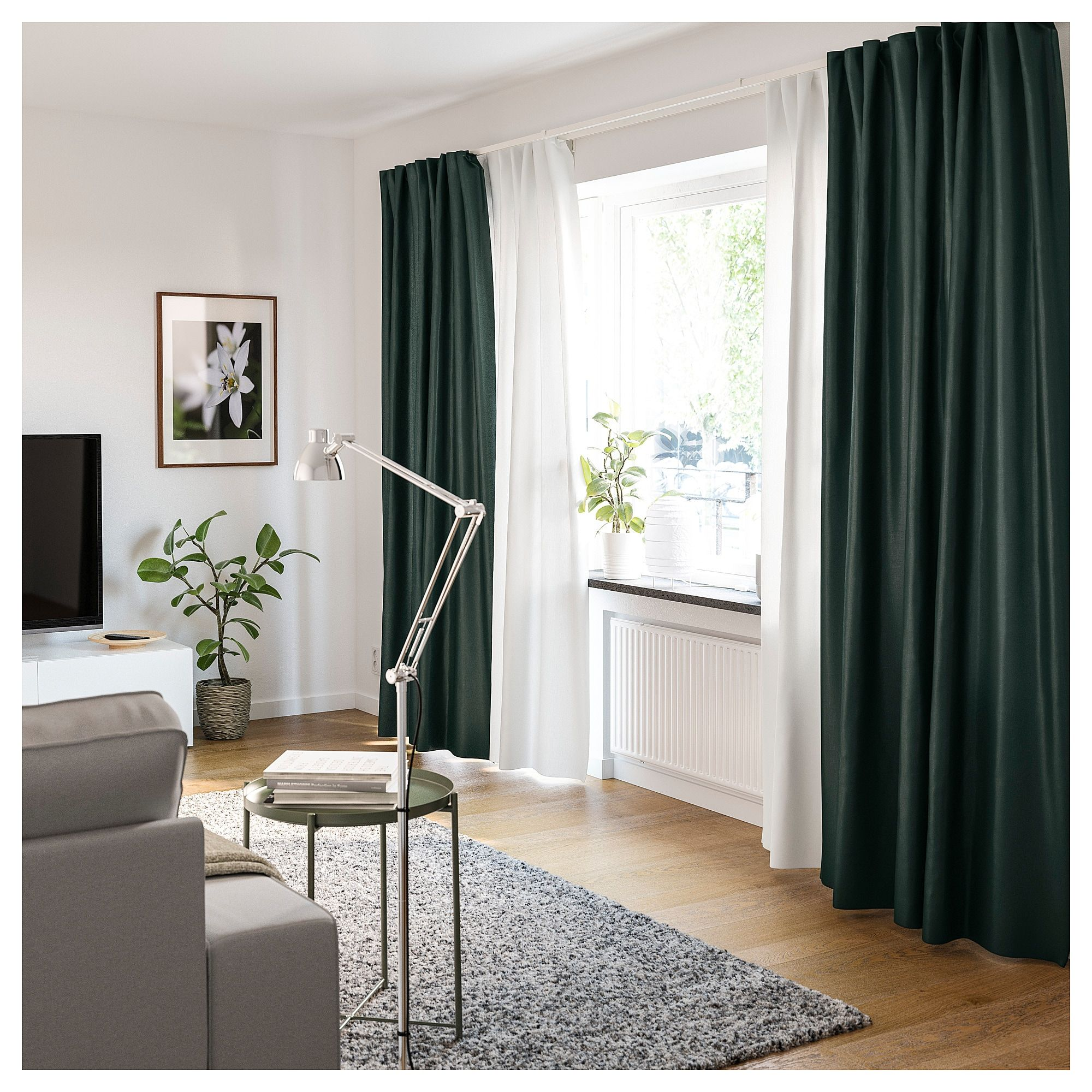 Vidga Two Track Set Ikea Green Curtains Living Room Fresh Living Room Curtains Living Room