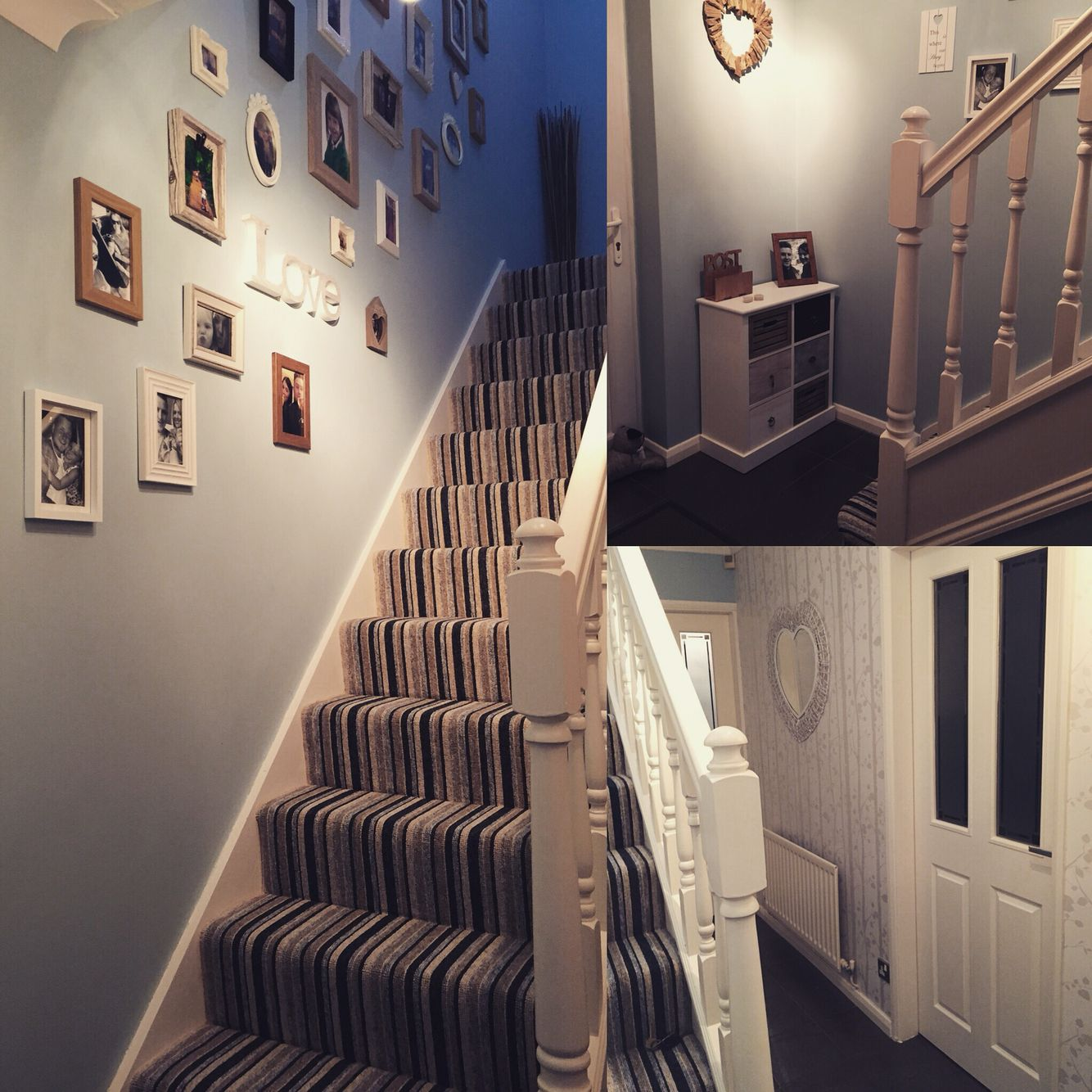 New duck egg blue hallway striped carpet hallway for Hall stairs carpet ideas