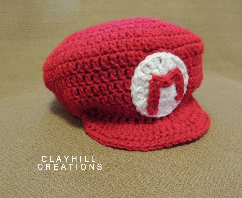d72b4ad3d98 Crochet Mario Hat - Mario Cap - Mario Kart - Super Mario Beanie - Mario Bros  - Crochet Mario - Gifts Under 30 by ClayhillCreations on Etsy