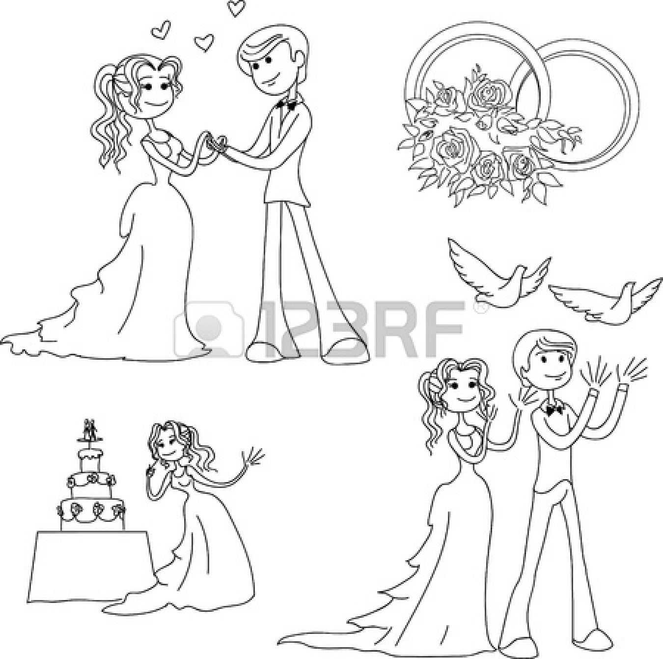 Coloring pages wedding theme - Lineart Wedding Theme In Cartoon Style Stock Vector 14355497 Wedding Coloring Pagesart