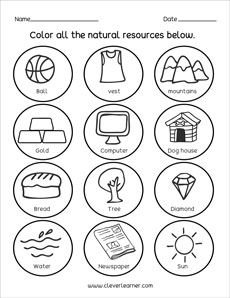 Quality natural resources worksheets for children