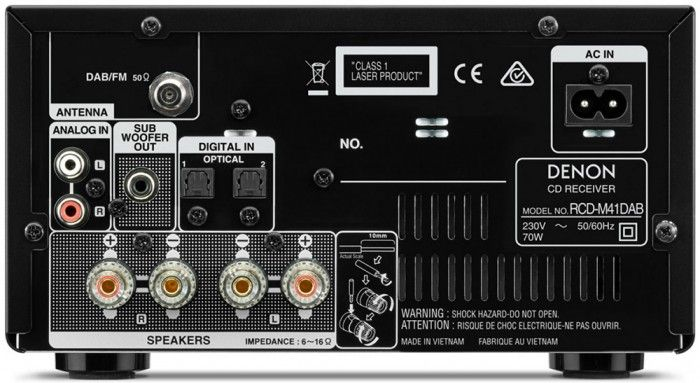 The Denon DM41DAB Mini System builds on its predecessor, featuring improved sound, a more refined style, and better facilities. The discrete analogue amplifier circuit reduces signal paths for greater clarity and impact, while the addition of Bluetooth will allow instant wireless connection to smartphones, tablet devices or computers/laptops with Bluetooth capability. Inputs & Outputs.