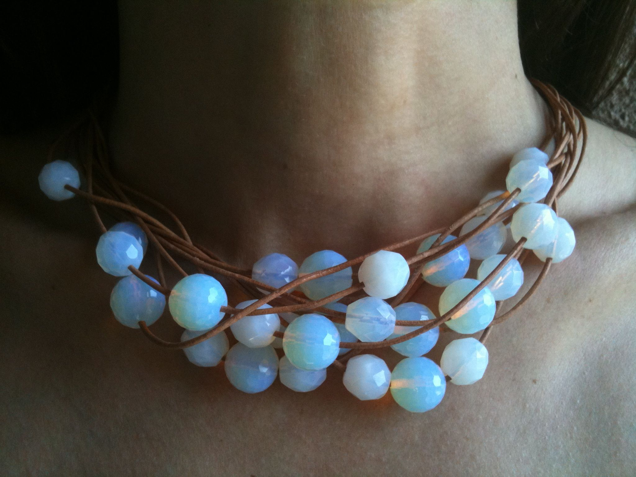 Moonstone baubles on leather cord necklace.