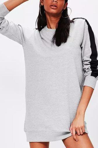 3b3e97915e7c Grey Contrast Long Sleeve Round Neck Mini Dress | All Fashion ...
