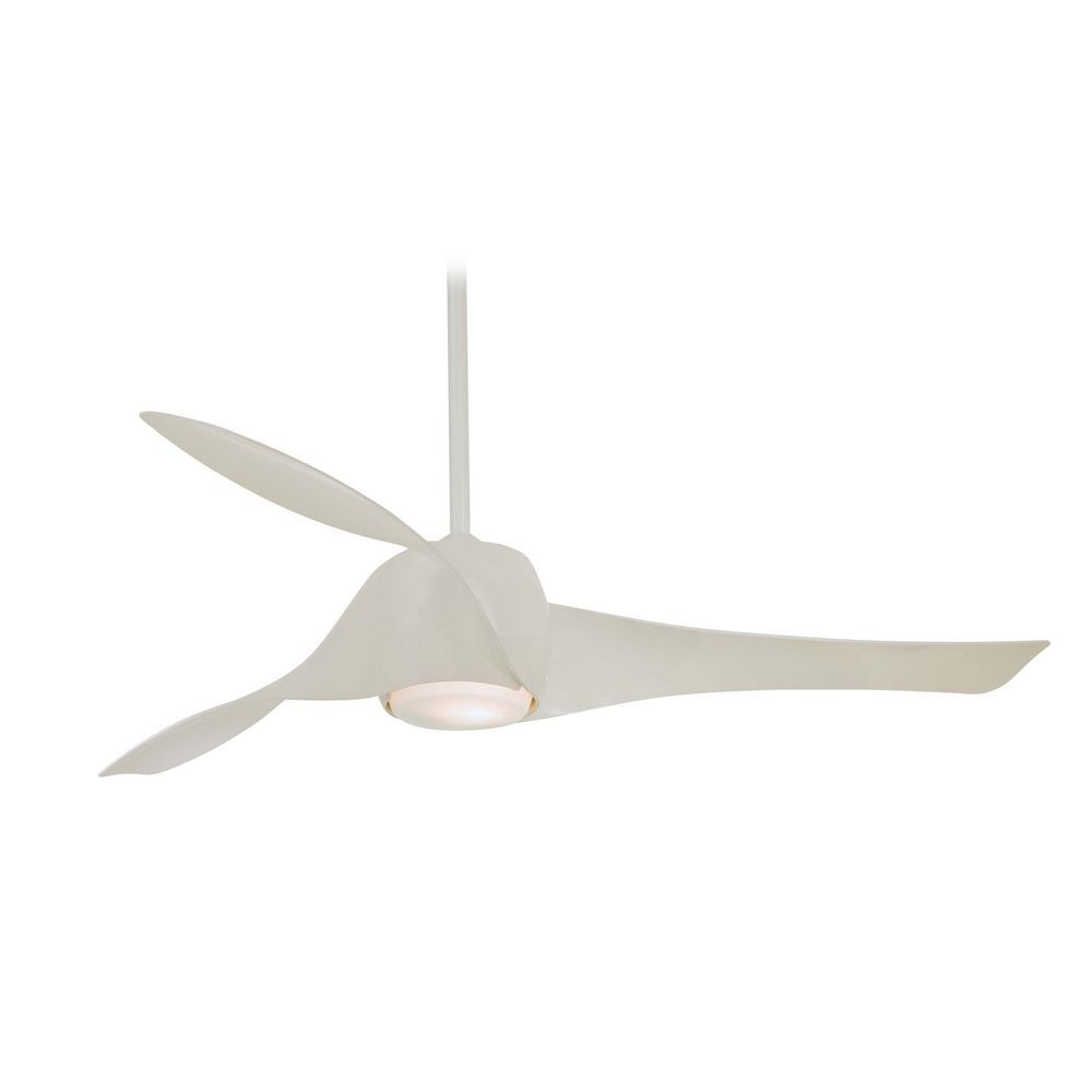 Modern Ceiling Fan With Light White Gl In High Gloss Finish F803 Wh Destination Lighting