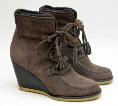 60.59$  Watch here - http://vivev.justgood.pw/vig/item.php?t=3mu2bq0719 - LANDS' END TENLEY Brown Suede Leather Wedge Ankle Bootie Tassel Woman's Sz 9B