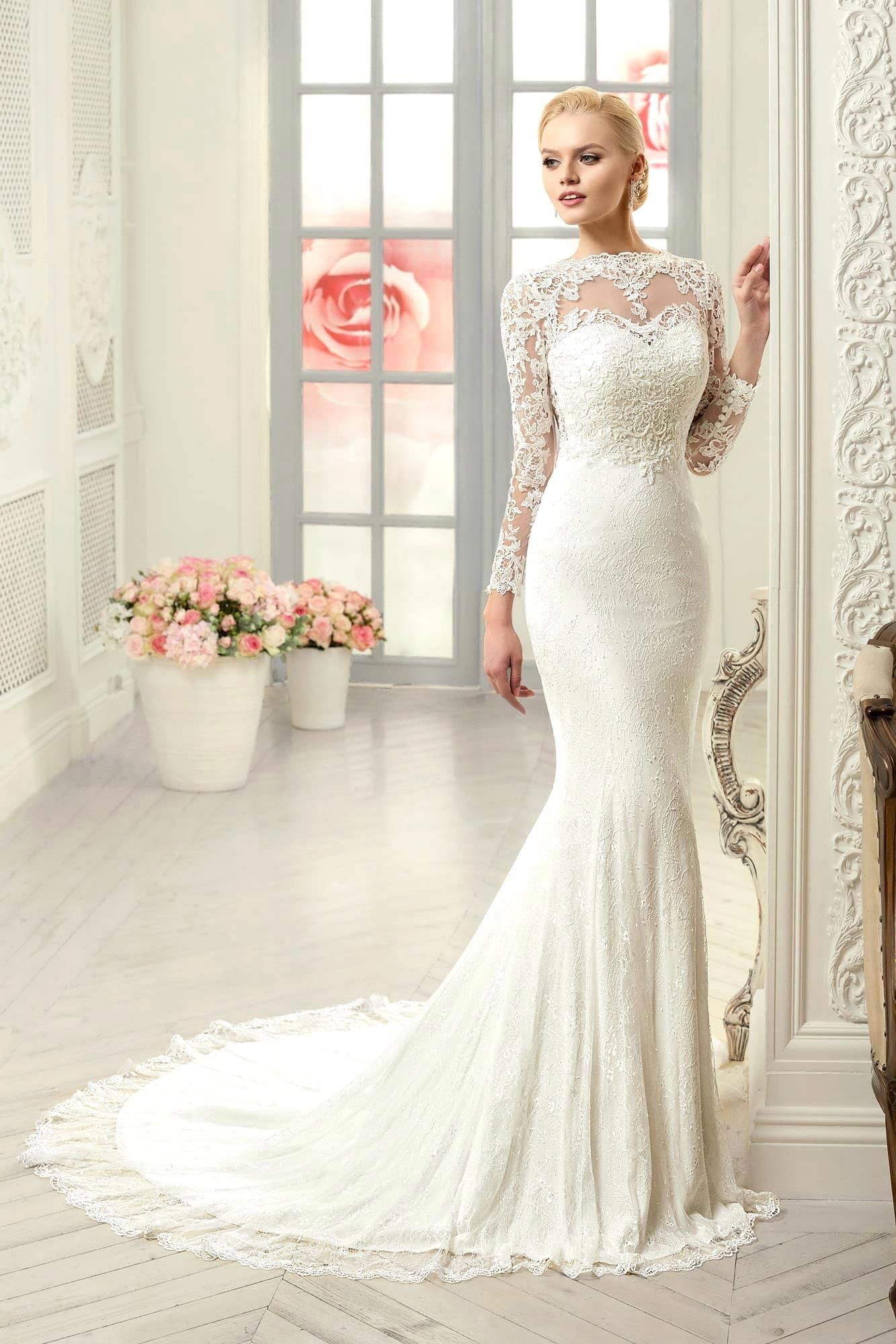 Vintage 2016 Lace Wedding Gowns White Long Sleeve Mermaid