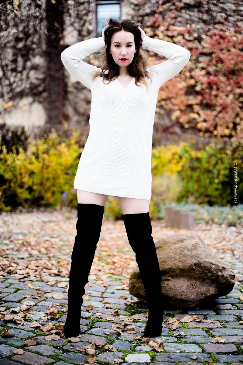 wildleder overknee stiefel mit minikleid als herbstlook video overknee stiefel wildleder. Black Bedroom Furniture Sets. Home Design Ideas