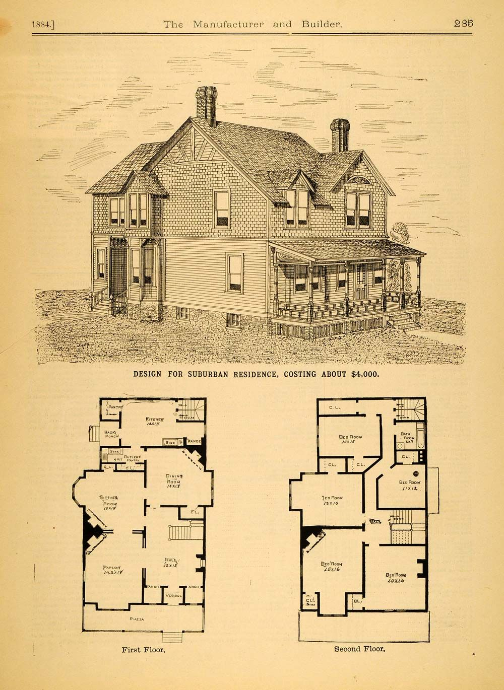 1884 print victorian architecture house design augustus for Historic home plans