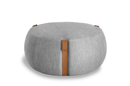 Contemporary Pouf Fabric Upholstered Round Notch By Johan