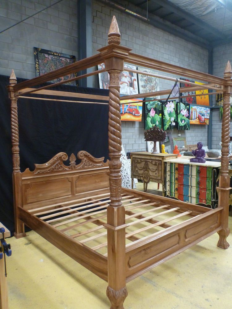 4 Poster Wood Bed Part - 47: Balinese Teak Wood Hand Carved Four Poster Bed King Size Natural Stain