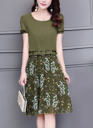 Şifon Diz boyu Gündelik Kap Kollu Çiçek Elbiseler | Pinterest | Neid ...