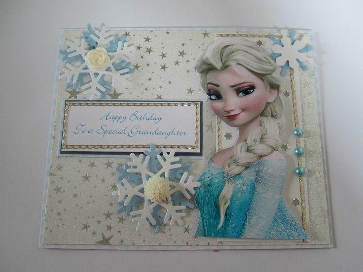 Handmade Elsa Frozen Birthday Card To Special Grandaughter Frozen Birthday Cards Frozen Cards Disney Cards
