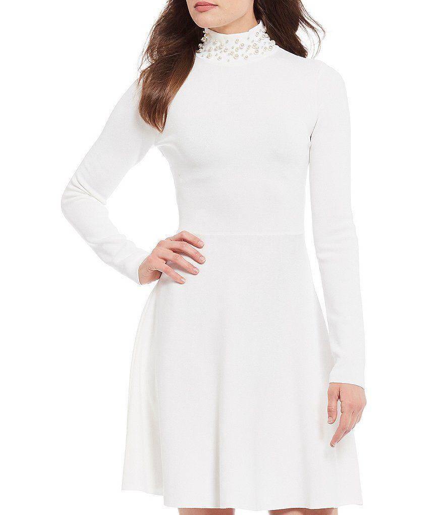 Eliza J Pearl Mock Neck Long Sleeve A Line Dress Dillard S Dresses A Line Dress Fit And Flare Dress [ 1020 x 880 Pixel ]